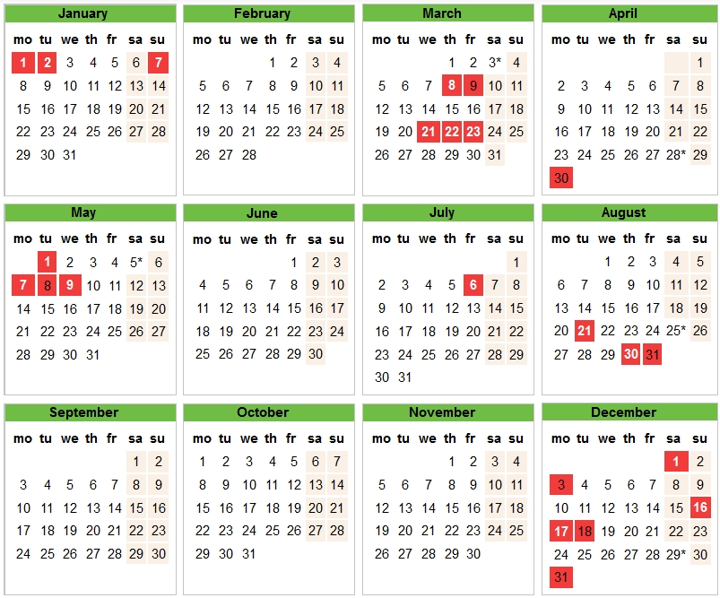 holidays calendar in 2018