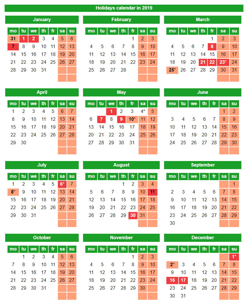 Holidays calendar in 2019
