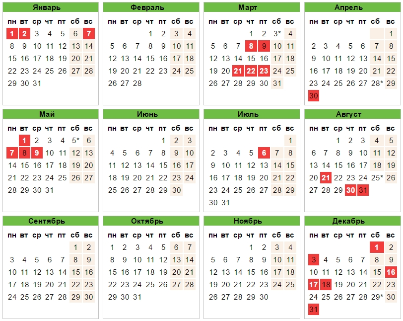 Календарь праздников РК на 2018 год